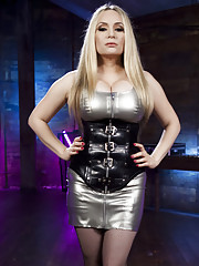 Goddess Aiden Starr dominates Emma Haize with the violet wand touch plate electrified