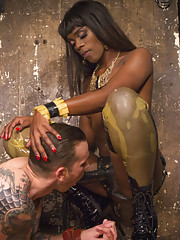 The stunning Ana Foxxx is at a high fashion photo shoot with the nervous and sweaty