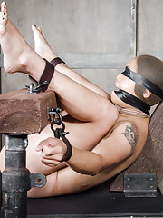 Completely bound and helpless our hot tiny Asian girl is hooded gagged and blindfolded