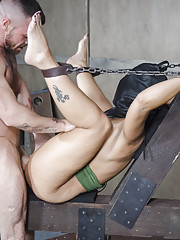 Bound and hooded in the ultimate fuck me position Syren is completely helpless and