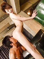 Makoto Yuukia Asian is fucked in mouth and in crack by two guys