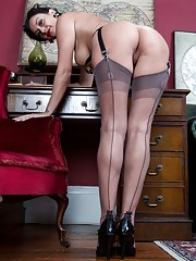 Cassie puts the case forward wearing heels and sheer grey FF nylons that you really