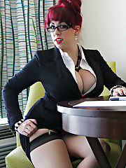 Kayla Dresses as the Sexiest Redhead Secretary youve ever seen!