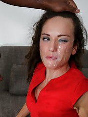 Elegant cutie gets nailed and facialized by a black guy