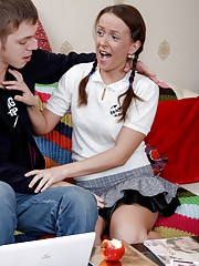 Pigtailed teen cutie gets nailed and pierced tongue jizzed