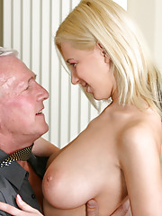 When she cleans the office she gets horny. Her boss is very busy and doesnt want