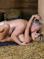 She first observes him then she sneakes up on him and she ties him up while he is