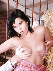An old farmer is working in his shed. Untill she jumps on him from behind and takes