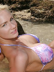 Busty Exhibitionist Nude On Public Beach