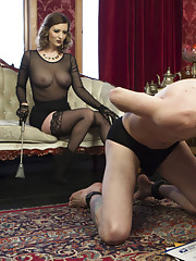 Its tea time in the Armory and Pathetic slave Artemis Faux is ready to worship and