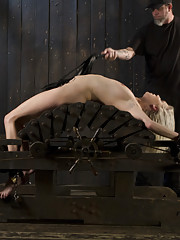 Squirting blonde pain slut is abused and tormented in grueling bondage by The Pope