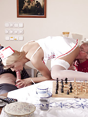 The modern nurse kisses the patients deep in the throat and sucks the withered dicks.