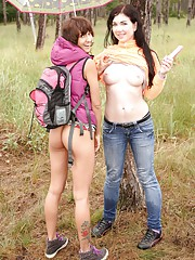 Young busty lesbian babes making out in the rain outdoors