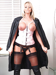 Stunning blonde femdom Lucy Zara is wearing some naughty lingerie with her sexy leather