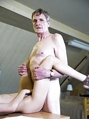 Dirty love affair at the office with old and young! Horny young girl Rebel Lynn pretends