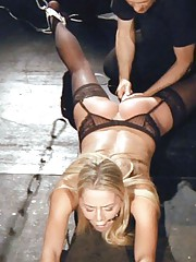 Glamorous subs girl in black stockings is punished in a vibrating dominance and submission
