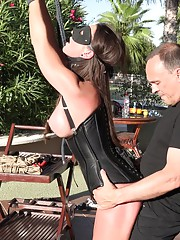 Rope-bondaged and wearing collars submissive Julie Shyhigh and fiesty Caroline Fox