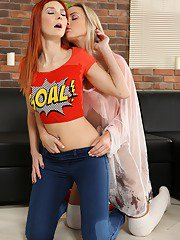 Golden showers and dildo play for hot lesbians