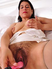 Hairy Latin housewife getting very naughty