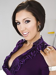 Photo set of Dylan Ryder stripping out of a purple dress