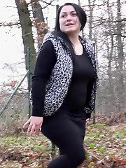 Chubby girl squats outside to piss in the woods