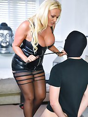 Mistress Lucy Zara has her slave spread and ready for his monthly Ball Busting Session!