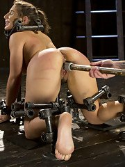 Brutal punishment while bound in steel devices and made to cum