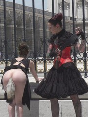 Silvia Rubi takes Aragne Spicy to the Spanish Kings Castle where shes gagged collared