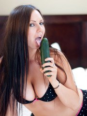 Horny Devine One Darla has some kinky fun with a huge cucumber