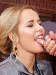 Good looking blonde secretary taking a hard cock in office