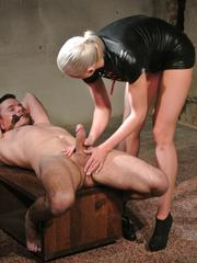 Mistress Victoria gives a forced wank and controlled orgasm
