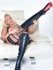 Hot babe Lucy Zara loves the feeling of skin tight Latex on her naked body it makes