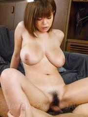 Airu Oshima asian with generous boobs rides cock with hairy cunt