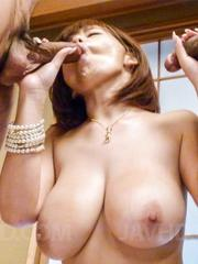 Airu Oshima has huge cans sucked and hairy twat licked by hunks
