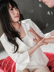 Kotomi Asakura has shaved cunt exposed and squirts after frigging