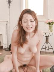 Reon Otowa Asian with cock stuck in beaver gets another in mouth