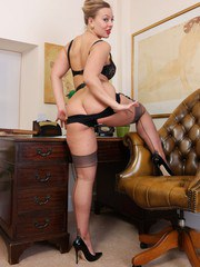 Heres Beth at her desk clad in vintage lingerie with sheer grey FF nylons underneath