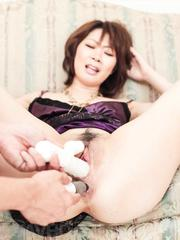 Rio Kagawa Asian gets vibrator and stiffy in asshole and pussy