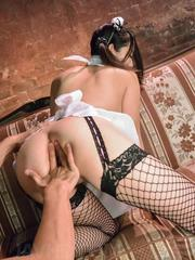 Anna Mihashi in uniform and fishnets is fingered and drilled