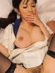 Yui Satonaka with big tits and stockings gets fingered and fucked