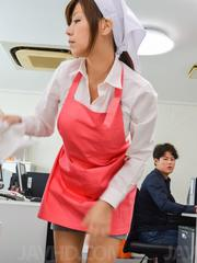 Chihiro Akino Asian is undressed of uniform to suck and ride cock