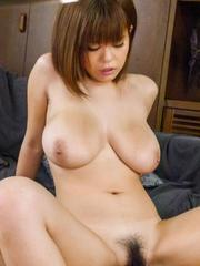 Airu Oshima with huge cans has hairy twat full of penis and cum