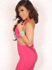 Busty Asian Alluring Vixen babe Michelle shows off her perfect curves in her tight