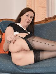 Tall brunette wife in pantyhose playing with her beaver