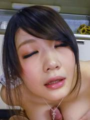 Rie Tachikawa sucks strong cock and rubs it with generous boobs