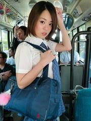Yuna Satsuki Asian in school uniform sucks boners in full bus