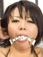 Haruka Uchiyama with ball in mouth cant scream while is fingered