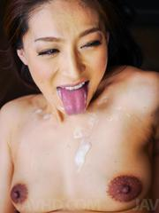 Marina Matsumoto Asian fucks with sex toys and gets cum in mouth
