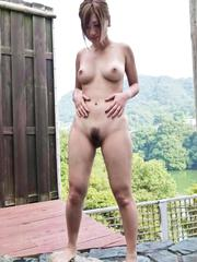 Aika Asian gets fingers and vibrators in her love box outdoor