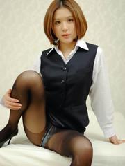 Emi Orihara Asian has stockings ripped and rides joystick a lot